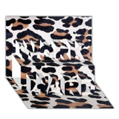Black And Brown Leopard Work Hard 3d Greeting Card (7x5)  by trendistuff