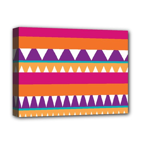 Stripes And Peaks Deluxe Canvas 16  X 12  (stretched)  by LalyLauraFLM