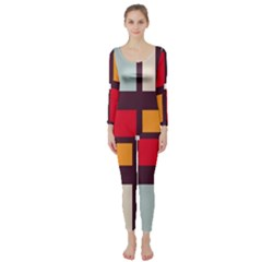 Squares and stripes   Long Sleeve Catsuit