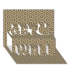 Cute Pretty Elegant Pattern Get Well 3d Greeting Card (7x5)  by creativemom