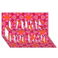Cute Pretty Elegant Pattern Laugh Live Love 3d Greeting Card (8x4)  by creativemom