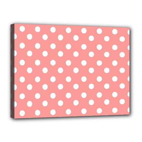 Coral And White Polka Dots Canvas 16  X 12  by creativemom
