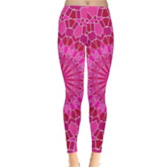 Pink And Red Mandala Women s Leggings by LovelyDesigns4U