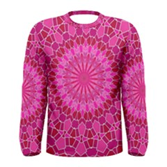 Pink And Red Mandala Men s Long Sleeve T Shirts by LovelyDesigns4U