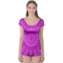 Purple and Pink Mandala Short Sleeve Leotard by LovelyDesigns4U