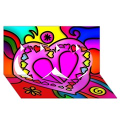 Colorful Modern Love Twin Hearts 3d Greeting Card (8x4)  by MoreColorsinLife