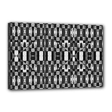 Black And White Geometric Tribal Pattern Canvas 18  X 12  by dflcprints