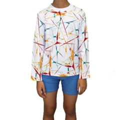 Colorful Abstract Print Kid s Long Sleeve Swimwear by dflcprintsclothing