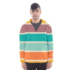 Rhombus and retro colors stripes pattern Mesh Lined Wind Breaker (Men) by LalyLauraFLM