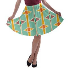 Rhombus Pattern In Retro Colors  A Line Skater Skirt by LalyLauraFLM