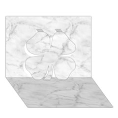 White Marble 2 Clover 3d Greeting Card (7x5)