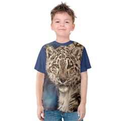 Snow Leopard Kid s Cotton Tee by ArtByThree