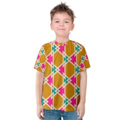 Connected shapes pattern Kid s Cotton Tee by LalyLauraFLM
