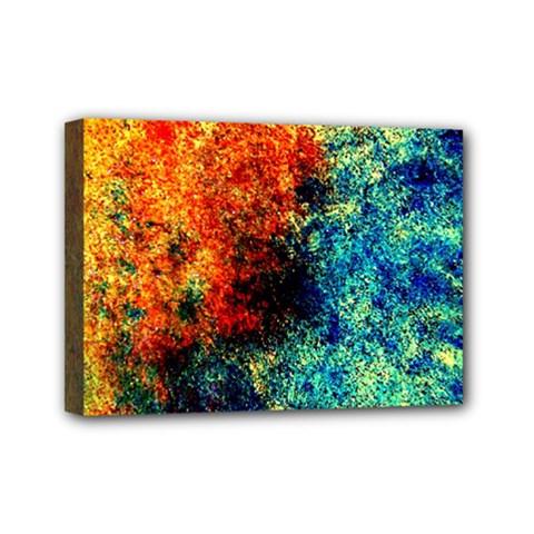 Orange Blue Background Mini Canvas 7  X 5  by Costasonlineshop