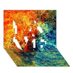 Orange Blue Background Love 3d Greeting Card (7x5)  by Costasonlineshop