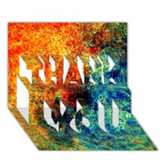 Orange Blue Background Thank You 3d Greeting Card (7x5)  by Costasonlineshop