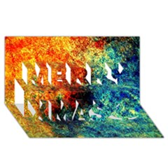 Orange Blue Background Merry Xmas 3d Greeting Card (8x4)  by Costasonlineshop