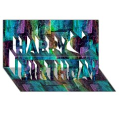 Abstract Square Wall Happy Birthday 3d Greeting Card (8x4)  by Costasonlineshop
