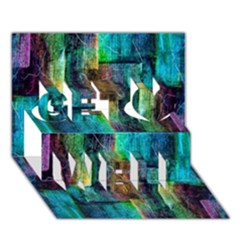 Abstract Square Wall Get Well 3d Greeting Card (7x5)  by Costasonlineshop