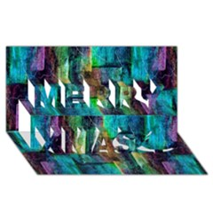 Abstract Square Wall Merry Xmas 3d Greeting Card (8x4)  by Costasonlineshop
