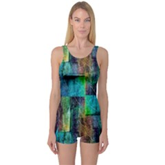Abstract Square Wall One Piece Boyleg Swimsuit by Costasonlineshop