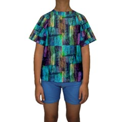 Abstract Square Wall Kid s Short Sleeve Swimwear by Costasonlineshop