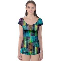 Abstract Square Wall Short Sleeve Leotard by Costasonlineshop
