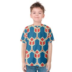 Orange Shapes On A Blue Background Kid s Cotton Tee by LalyLauraFLM