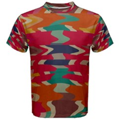 Retro colors distorted shapes Men s Cotton Tee by LalyLauraFLM