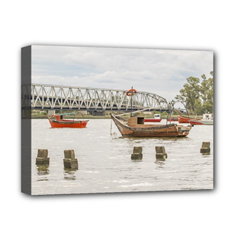 Boats At Santa Lucia River In Montevideo Uruguay Deluxe Canvas 16  X 12   by dflcprints