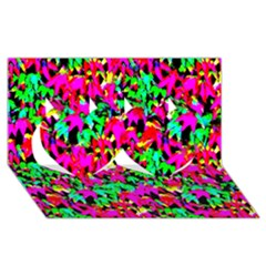 Colorful Leaves Twin Hearts 3d Greeting Card (8x4)  by Costasonlineshop