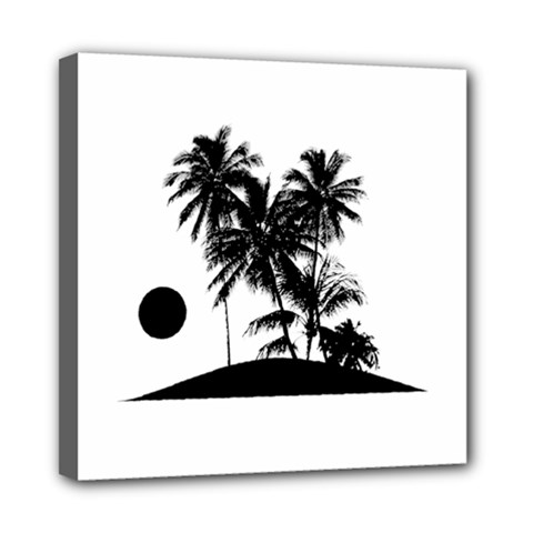 Tropical Scene Island Sunset Illustration Mini Canvas 8  X 8  by dflcprints