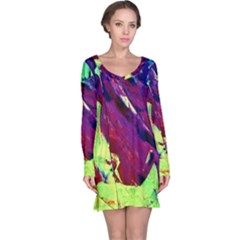 Abstract Painting Blue,yellow,red,green Long Sleeve Nightdresses by Costasonlineshop