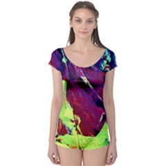 Abstract Painting Blue,Yellow,Red,Green Short Sleeve Leotard by Costasonlineshop