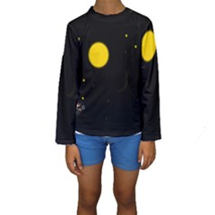 Cycle To The Moon Kid s Long Sleeve Swimwear by JDDesigns