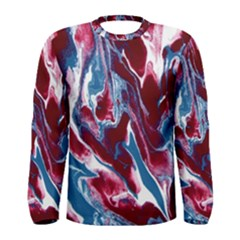 Blue Red White Marble Pattern Men s Long Sleeve T Shirts by Costasonlineshop