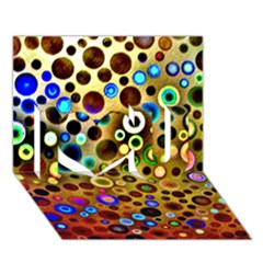 Colourful Circles Pattern I Love You 3d Greeting Card (7x5)  by Costasonlineshop