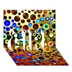 Colourful Circles Pattern Girl 3d Greeting Card (7x5)  by Costasonlineshop