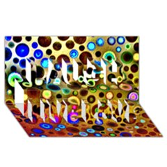 Colourful Circles Pattern Laugh Live Love 3d Greeting Card (8x4)  by Costasonlineshop
