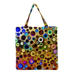 Colourful Circles Pattern Grocery Tote Bags by Costasonlineshop
