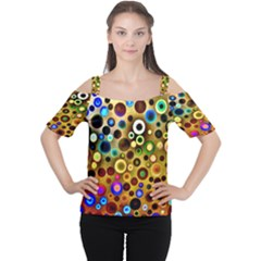 Colourful Circles Pattern Women s Cutout Shoulder Tee by Costasonlineshop