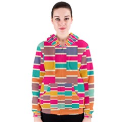 Connected Colorful Rectangles Women s Zipper Hoodie by LalyLauraFLM