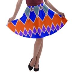 Rhombus chains A-line Skater Skirt