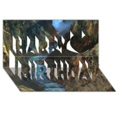 Yellowstone Lower Falls Happy Birthday 3d Greeting Card (8x4)  by trendistuff
