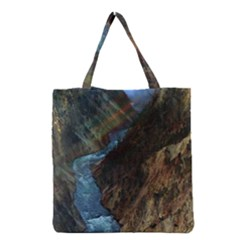 Yellowstone Lower Falls Grocery Tote Bags by trendistuff