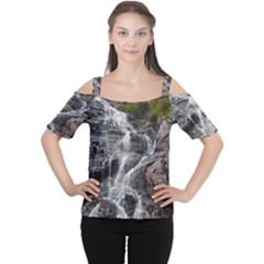 Mountain Waterfall Women s Cutout Shoulder Tee by trendistuff