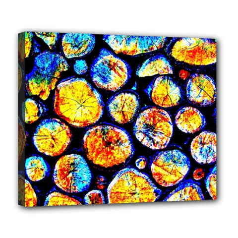 Woodpile Abstract Deluxe Canvas 24  X 20   by Costasonlineshop