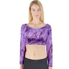 Purple Wall Background Long Sleeve Crop Top by Costasonlineshop