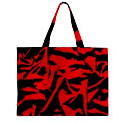 Red Black Retro Pattern Zipper Tiny Tote Bags by Costasonlineshop