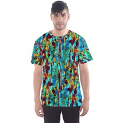 Turquoise Blue Green  Painting Pattern Men s Sport Mesh Tees by Costasonlineshop